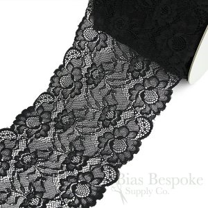 "MAREN 7 1/4"" Wide Black Floral Stretch Lace Trim, Sold by the Yard"