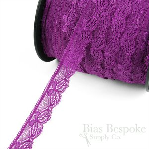 "VERBENA 1 3/16"" Wide Stretch Butterfly Lace, Made in Italy"