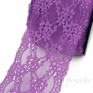 "FIONA 7"" Wide Hyacinth Violet Stretch Lace Trim, Sold by the Yard"