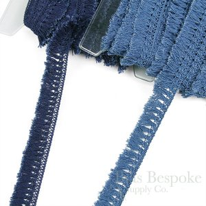 100% Cotton Knotted Top Blue Indigo Fringe Trim, Made in Spain