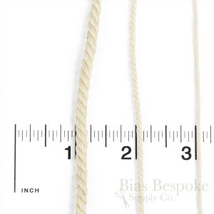 GWINN Twisted Cotton Cord in Three Widths, Undyed Natural Color