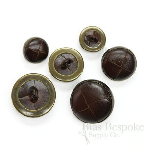 Dark Brown Woven Leather & Antique Brass Buttons in Three Sizes, Made in Italy