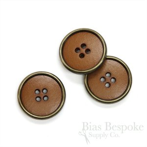 Caramel Colored Leather Suit and Coat Buttons with Metal Rims, Made in Italy