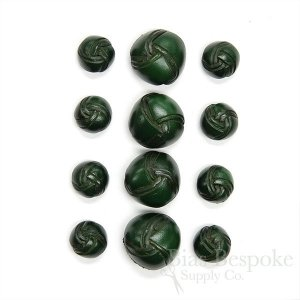 Dark Green Double Woven Thick Leather Buttons, Made in Italy