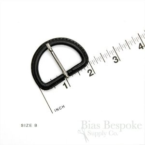 Black Leather D-Ring Buckles with Silver Pins, Made in Italy