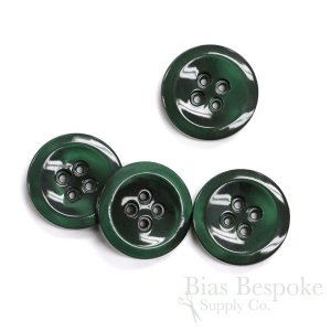 HALENA Luminous Dark Emerald Green Galalite Buttons, Made in Italy