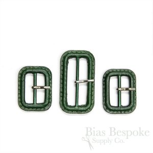 Dark Green Leather Buckles with Silver Pins, Made in Italy