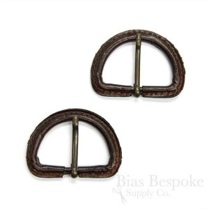 Dark Brown Leather D-Ring Buckles with Antique Brass Pins, Made in Italy