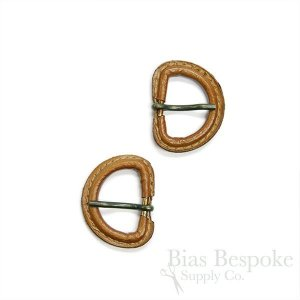 Caramel-Colored Leather D-Ring Buckles with Antique Brass Pins, Made in Italy