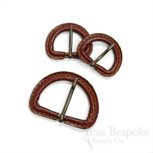 Red Brown Leather D-Ring Buckles with Antique Brass Pins, Made in Italy