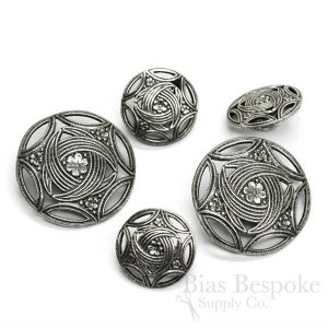 Intricate Silver Buttons in Two Sizes, Made in France