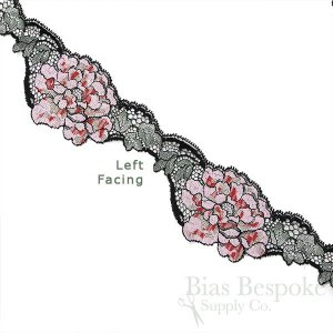 "3"" Wide Pink Roses Stretch Leavers Lace, Made in France"