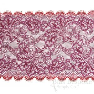 "8"" Wide Two-Tone Red & Pink Stretch Leavers Lace Trim, Made in France"