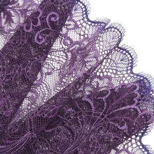 "8"" Wide Two-Tone Purple Stretch Leavers Lace Trim, Made in France"
