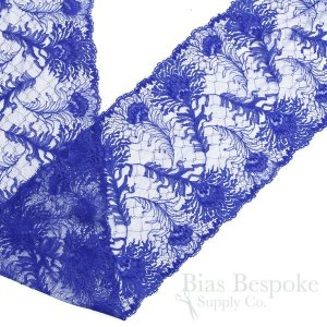 "8"" Wide Electric Blue Peacock Feather Stretch Leavers Lace, Made in France"