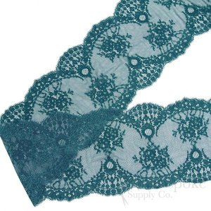 "7 1/2"" Wide Stretch Leavers Teal Lace, Made in France"