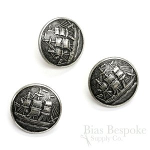 Antique Silver Sailing Ship Buttons in Two Sizes, Made in France