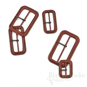 Red Brown Leather Buckles with Antique Brass Pins, Made in Italy